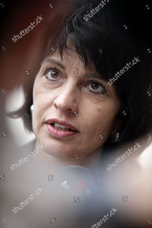 Doris Leuthard Swiss Federal Councilor Doris Leuthard answers reporters prior to a meeting with France's Industry Minister Eric Besson, unseen, in Paris