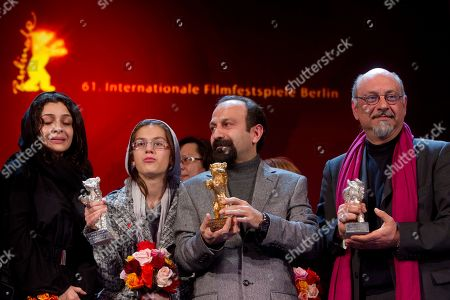 Sarina Farhadi, Leila Hatami, Asghar Farhadi, Babak Karimi Iranian actress Sarina Farhadi, Leila Hatami, director Asghar Farhadi and actor Babak Karimi present the Golden Bear Award for the Best Film and the Silver Bear Awards for the best actress-ensemble and for the best actors-ensemble of the film 'Nader And Simin A Separation' during the awarding ceremony at the International Film Festival Berlinale in Berlin, Germany