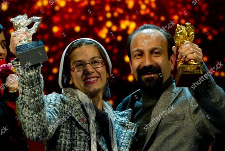 Asghar Farhadi, Sarina Farhadi Iranian director Asghar Farhadi, right, and actress Sarina Farhadi present the Golden Bear Award for the Best Film and the Silver Bear Award for the best actress-ensemble of the film 'Nader And Simin A Separation' at the International Film Festival Berlinale in Berlin, Germany