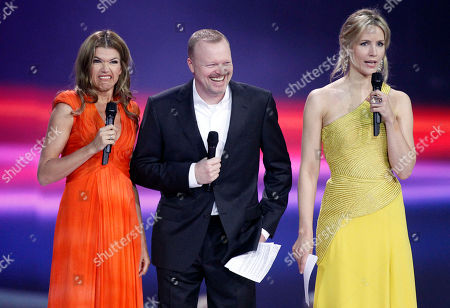 Anke Engelke, Stefan Raab, Judith Rakers Presenters Anke Engelke, Stefan Raab and Judith Rakers, from left, joke during the rehearsal for the second semifinal of the Eurovision Song Contest (ESC) in Duesseldorf, Germany, . The final of the ESC will be held on Saturday