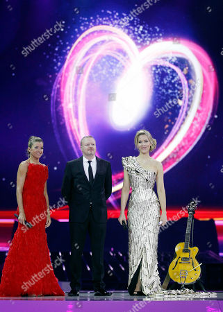 Anke Engelke, Stefan Raab, Judith Rakers The show presenters Anke Engelke, Stefan Raab and Judith Rakers, from left, standi in front of the logo during the final rehearsal of the Eurovision Song Contest (ESC) in Duesseldorf, Germany, . The final of the ESC will be held on Saturday