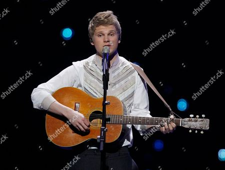 Stock Photo of Paradise Oskar Paradise Oskar of Finland performs the song 'Da Da Dam' during the final rehearsal of the Eurovision Song Contest, ESC, in Duesseldorf, Germany, . The final of the ESC will be held on Saturday