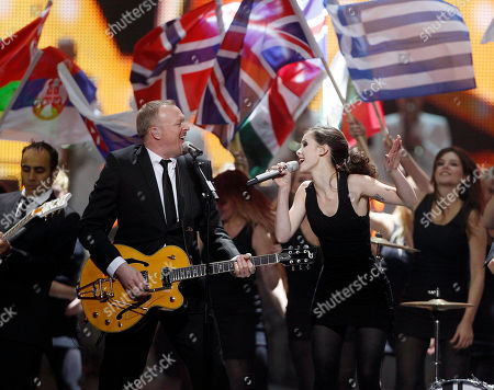 Stefan Raab, Lena Presenter Stefan Raab and Lena of Germany perform during the final rehearsal of the Eurovision Song Contest, ESC, in Duesseldorf, Germany, . The final of the ESC will be held on Saturday