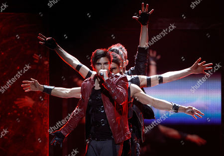Sweden's Eric Saade sings his song 'Popular' during the final of the Eurovision Song Contest 2011 in Duesseldorf, Germany