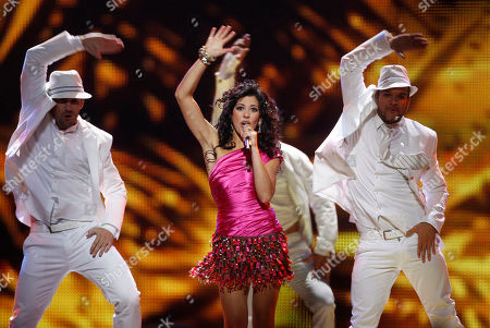 Spain's Lucia Perez sings 'Que Me Quiten Lo Bailao - They Can't Take The Fun Away From Me' during the final of the Eurovision Song Contest 2011 in Duesseldorf, Germany