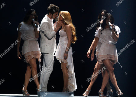 Ell/Nikki, Nigar Jamal and Eldar Gasimov, from Azerbaijan sing their winning song 'Running Scared' during the final of the Eurovision Song Contest 2011 in Duesseldorf, Germany