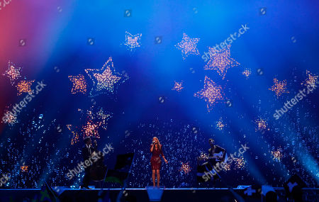 Stock Picture of Switzerland's Anna Rossinelli sings her song 'In Love For A While' during the final of the Eurovision Song Contest 2011 in Duesseldorf, Germany
