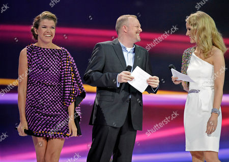 Anke Engelke, Stefan Raab, Judith Rakers The presenters Anke Engelke, Stefan Raab and Judith Rakers, from left, joke during a rehearsal prior to the semifinal of the Eurovision Song Contest (ESC) in Duesseldorf, western Germany, . The big final of the ESC 2011 is to take place next Saturday in Duesseldorf on May 14