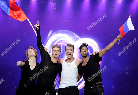 Alexej Vorobjov Russia's Alexej Vorobjov of Russia, second from right, celebrates with his band after the first semifinal of the Eurovision Song Contest (ESC) in Duesseldorf, Germany, . The final of the ESC will be held on Saturday