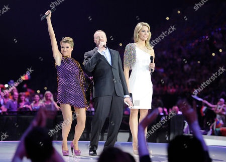 Anke Engelke, Stefan Raab, Judith Rakers TV presenter Anke Engelke, from left, Stefan Raab and Judith Rakers welcome the audience for the first semifinal of the Eurovision Song Contest (ESC) in Duesseldorf, Germany, . The final of the ESC will be held on Saturday