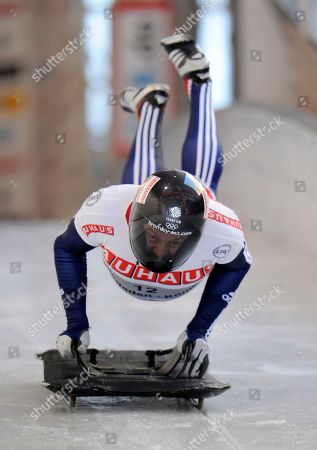 Kristian Bromley Great Britain's Kristian Bromley jumps on his skeleton during his first run in the men's Skeleton World Championships race in Koenigssee, southern Germany, on