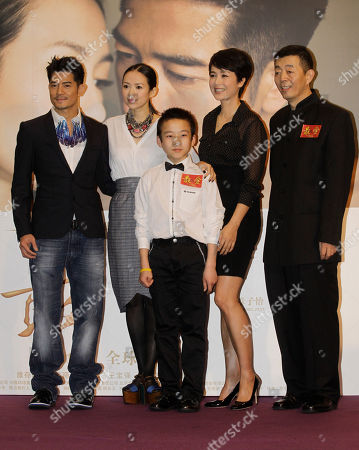 """Aaron Kwok, Zhang Ziyi, Hu Zetao, Jiang Wenli, Gu Changwei From left, Hong Kong actor Aaron Kwok, Chinese actress Zhang Ziyi, young actor Hu Zetao, actress Jiang Wenli and director Gu Changwei attend a promotional event of their latest movie """"Till Death Do Us Part"""" in Hong Kong, as part of the events in Hong Kong International Film Festival"""