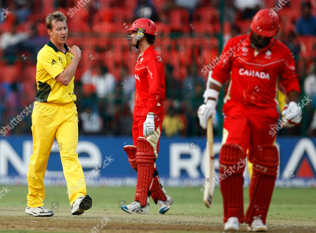Brett Lee, Balaji Rao Australia's cricketer Brett Lee, left, reacts after taking the wicket of Canada's Balaji Rao, right, during the Cricket World Cup Group A match between Australia and Canada in Bangalore, India