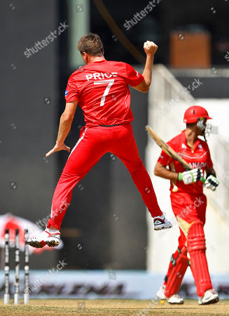 Ray Price, John Davison Zimbabwe's Ray Price jumps to celebrate the dismissal of Canada's John Davison, right, during their Cricket World Cup Group A match in Nagpur, India