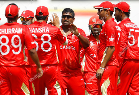 Balaji Rao Canada's cricketer Balaji Rao, center, celebrates with teammates the dismissal of Zimbabwe's Greg Lamb, not seen, during their Cricket World Cup Group A match in Nagpur, India