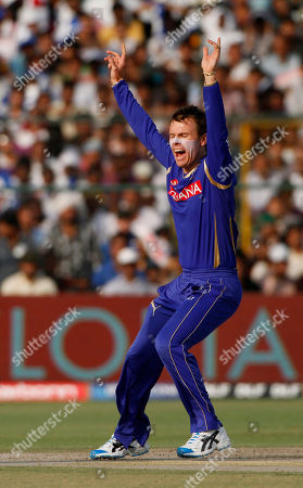 Johan Botha Rajasthan Royals bowler Johan Botha celebrates after dismissing Mumbai Indians' Andrew Symonds, unseen, during an Indian Premier League (IPL) cricket match in Jaipur, India