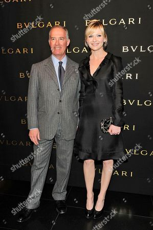 Stock Photo of US Actress Kirsten Dunst poses with Francesco Trapani (CEO Bulgari) at the media presentation of the Mon Jasmin Noir, (Bulgari's forthcoming fragrance for women) in Milan, Italy, on Friday, Feb 25, 2011
