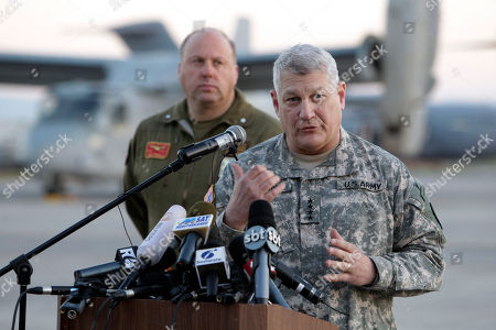 US General Carter Ham, Commander of the United States military mission in Libya, center, talks to the media during a press conference he held in the Sigonella airbase, Sicily