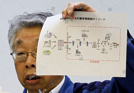 Takashi Fujimoto Executive Vice President of Tokyo Electric Power Co., Takashi Fujimoto shows the illustrated diagram of the scheduled blackouts during the press conference in Tokyo, Japan. The utility company says it will ration electricity with rolling blackouts in parts of Tokyo and other Japanese other cities. They are meant to help make up for a severe shortfall after key nuclear plants were left inoperable due to the earthquake and tsunami in northeastern Japan