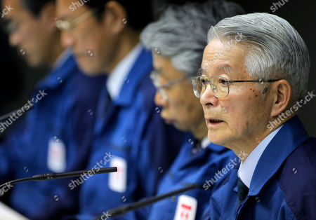 Tsunehisa Katsumata Tokyo Electric Power Co. Chairman Tsunehisa Katsumata, right, speaks during a news conference at the company's head office in Tokyo. A Japanese judicial committee has decided that three former utility executives should face criminal charges and stand trial for their alleged negligence in the Fukushima nuclear disaster. A document released showed the committee voted in favor of indicting Katsumata, who was chairman of TEPCO. at the time of the crisis, along with two other former executives