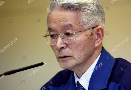 Stock Image of Tsunehisa Katsumata Then Tokyo Electric Power Co., (TEPCO) Chairman Tsunehisa Katsumata speaks during a news conference at the company's headquarters in Tokyo. Three former Japanese utility executives, including Katsumata, were formally charged for alleged negligence in the Fukushima nuclear disaster, becoming the first ones from the company to face a criminal court