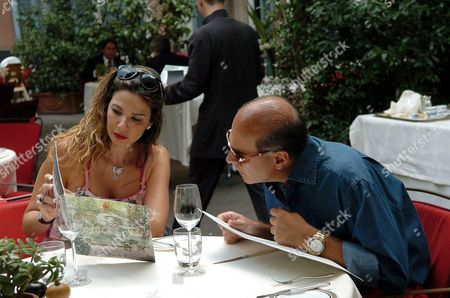 Luciana Morad and Marcelo Carvalho having lunch at the Hotel de Russie restaurant 'Jardin de Russie'