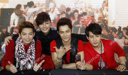 "Calvin Chen, Aaron Yan, Jiro Wang, Wu Chun Taiwanese boy band Fahrenheit, from left, Calvin Chen, Aaron Yan, Jiro Wang and Wu Chun, pose during ""Meet the Fans"" session at a shopping mall in Kuala Lumpur, Malaysia"