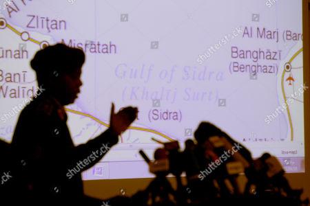 Saleh Abdullah Ibrahim Libyan Army Maj. Gen. Saleh Abdullah Ibrahim gestures during a press conference in Tripoli, Libya, . In the background is a map of Libyan Eastern coastal areas involved in the fighting