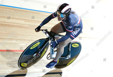 Sandie Clair of France competes to take a second place in the women's 500 meters time trial during the Track Cycling World Championships in Apeldoorn, central Netherlands