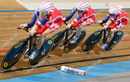 New world champions Team Britain with Danielle King, Wendy Houvenaghel, and Laura Trott, from left to right, compete to win the women's team pursuit final during the Track Cycling World Championships in Apeldoorn, central Netherlands