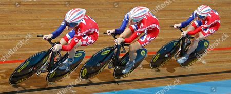 New world champions Team Britain with Laura Trott, Danielle King, and Wendy Houvenaghel, from left to right, compete to win the women's team pursuit final during the Track Cycling World Championships in Apeldoorn, central Netherlands