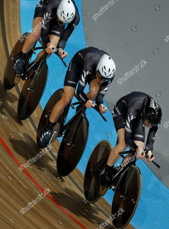 Bronze medallists Alison Shanks, leading, Kaytee Boyd, center, and Jaime Nielsen, rear, of New Zealand, compete in the qualifying session of the women's team pursuit event during the Track Cycling World Championships in Apeldoorn, central Netherlands