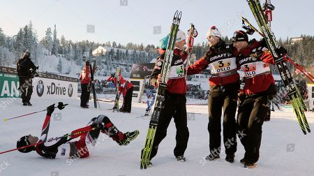 David Kreiner, Bernhard Gruber, Mario Stecher, Felix Gottwald Mario Stecher, left, reacts in the finish area besides teammates David Kreiner, Felix Gottwald and Bernhard Gruber, all from Austria after winning the men's nordic combined team gundersen 4x5 km at the Ski World Championships in Oslo, Norway, on