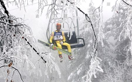 Felix Gottwald Austria's Felix Gottwald sits in a chairlift during the Nordic Combined competition at the Ski World Championships in Oslo, Norway, on
