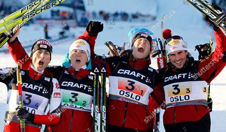 Mario Stecher, David Kreiner, Bernhard Gruber, Felix Gottwald From left, Austria's Mario Stecher, David Kreiner, Bernhard Gruber and Felix Gottwald celebrate after winning the men's nordic combined team gundersen 4x5 km at the Ski World Championships in Oslo, Norway, on