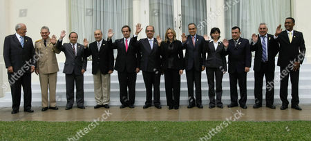 Nelson Jobim, Carlos Mata, Javier Ponce, Arturo Puricelli, Andres Allamand, Jaime Thorne, Maria Emma Mejia, Rodrigo Rivera, Maria Chacon, Francisco Ortiz, Luis Rosadilla, Ivan Fernald From left: Brazil's Defense Minister Nelson Jobim, Venezuela's Defense Minister Carlos Mata, Ecuador's Defense Minister Javier Ponce, Argentina's Defense Minister Arturo Antonio Puricelli, Chile's Defense Minister Andres Allamand, Peru's Defense Minister Jaime Thorne, Secretary General to the Union of South American Nations Maria Emma Mejia, Colombia's Defense Minister Rodrigo Rivera, Bolivia's Defense Minister Maria Chacon, Paraguay's Defense Vice Minister Francisco Ortiz, Uruguay's Defense Minister Luis Rosadilla and Surinam's Defense Minister Ivan Fernald pose for the official photo during the III Ordinary Meeting of the South American Defense Council in Lima, Peru, . The South American Defense Council is part of the South American Union of Nations, UNASUR, created in 2008 and constituted of Argentina, Bolivia, Brazil, Chile, Colombia, Ecuador, Guyana, Paraguay, Peru, Surinam, Uruguay and Venezuela