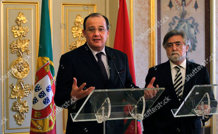 Taib Fassi-Fihri, Luis Amado Morocco's Foreign Minister Taib Fassi-Fihri, left, gestures during a joint news conference with his Portuguese counterpart Luis Amado following their talks at the Necessidades palace, the Portuguese Foreign Ministry, in Lisbon. The two ministers discussed the current situation in Libya and neighboring north African countries