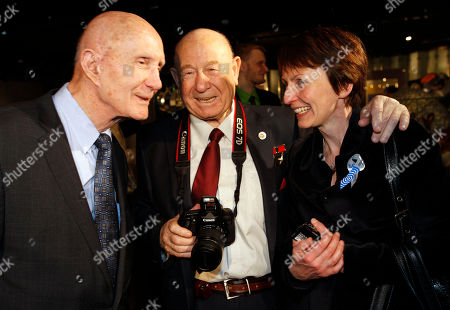 Thomas Stafford, Alexei Leonov, Helen Sharman From left: U.S. astronaut Thomas Stafford, Russian cosmonaut Alexei Leonov and British astronaut Helen Sharman visit an exhibition dedicated to the 50th anniversary of the first man in space, Russia's Yuri Gagarin, in Moscow, Russia