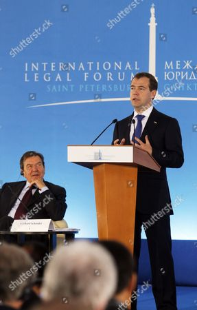 Dmitry Medvedev, Gerhard Schroder Russian President Dmitry Medvedev speaks during the International Legal Forum in St.Petersburg, Russia, with former German chancellor Gerhard Schroder at left. The Forum is called to develop more cooperation between international legal systems