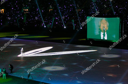 Toto Cutugno, Italian pop singer and musician sings during an opening ceremony of a new soccer stadium in Grozny