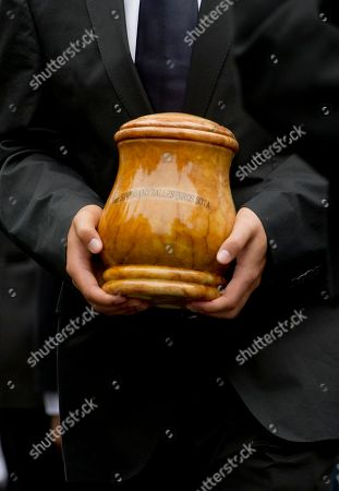 Seve Ballesteros, Javier Ballesteros Seve Ballesteros oldest son, Javier, carries the urn holding the Spanish golfer's ashes during his father's funeral service in Pedrena, Spain, . Ballesteros, 54, a five-time major tournament winner, died last Saturday of from complications of a cancerous brain tumor