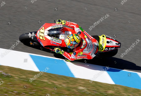Valentino Rossi MotoGP rider Valentino Rosi, from Italy, steers his Ducati during a free practice for Sunday's Spanish Motorcycling MotoGP Grand Prix at the Jerez racetrack in Jerez de la Frontera, southern Spain