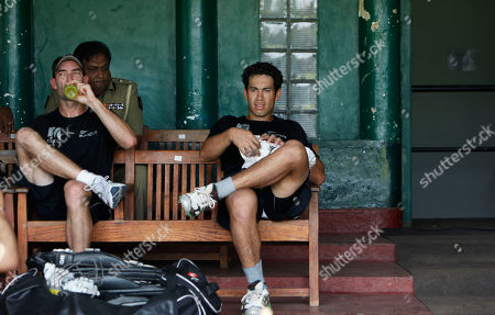 Ross Taylor, Andy McKay New Zealand's Ross Taylor, right, and Andy McKay, left, rest during a practice session in Colombo, Sri Lanka, . New Zealand will play against Sri Lanka on March 29 for an ICC World Cup Cricket semifinal