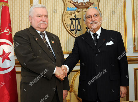 Stock Picture of Fouad Mebazaa, Lech Walesa Tunisia's interim president, Fouad Mebazaa, right, shakes hands with former Polish president and Solidarity founder Lech Walesa in Tunis, Thursday April, 208, 2011. During a three-day visit, Walesa is to meet members of Tunisia's interim legislative body, human rights and pro-democracy activists. Tunisia's longtime president fled in a popular revolt this year