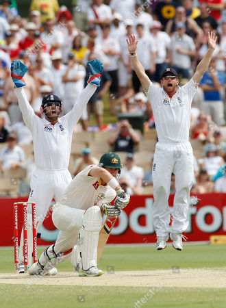 Matt Prior, Marcus North, Paul Collingwood England's Matt Prior, left, and Paul Collingwood, right, appeal for the wicket of Australia's Marcus North on day five of the second Ashes cricket test in Adelaide, Australia