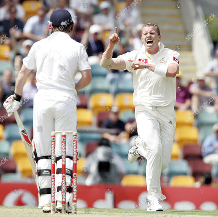 Peter Siddle Paul Collingwood Australia's Peter Siddle celebrates after getting the wicket of Paul Collingwood, left, caught by Marcus North, for 4 runs during the 1st day of the first test in the Ashes cricket Series between Australia and England at the Gabba in Brisbane, Australia