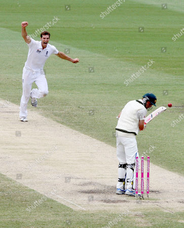 Chris Tremlett, Michael Beer Australia's cricket player Michael Beer, right, looks down on his stumps as England's Chris Tremlett celebrates as England wins the 5th Ashes Test Match and the series in Sydney, Australia