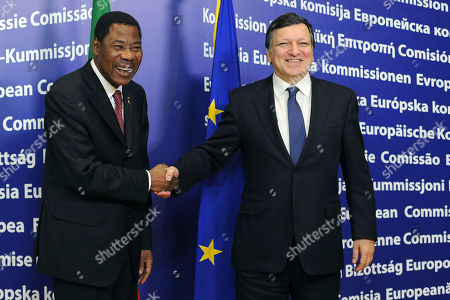 Jose Manuel Barroso, Thomas Yayi Boni Taken, EU Commission President Jose Manuel Barroso, right, welcomes Benin's President Thomas Yayi Boni upon his arrival at the EU Commission headquarters in Brussels, Belgium. Benin's constitutional court on Monday, March 21, 2011, says the incumbent president has won another term in the West African nation. The court on Monday, confirmed provisional results that gave President Thomas Boni Yayi an absolute majority with more than 53 percent of the vote