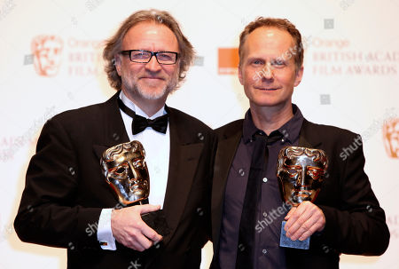 Soren Staermose, Niels Arden Oplev Soren Staermose, left, and Niels Arden Oplev pose with the award for Film not in the English language backstage during the BAFTA Film Awards 2011, at The Royal Opera House in London