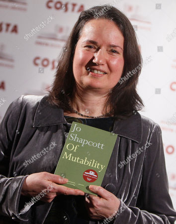 Jo Shapcott Winner of the Costa Book of the Year Award Jo Shapcott reacts after winning the award in London . Shapcott's surprise victory for her book, Of Mutability, makes it two years in a row that poetry has won the Costa Book Award
